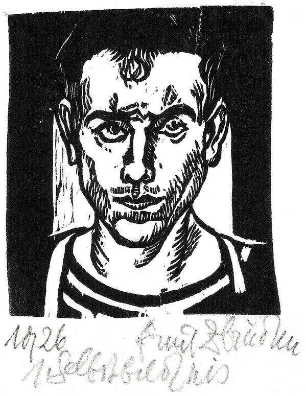 Emil Zbinden, 1. Selbstbildnis, 1926, Holzschnitt