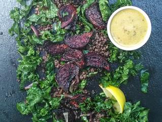 French lentil, roasted beet and kale salad
