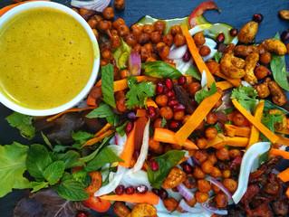 Crazy salad, shwarma roasted chickpeas, yellow curry vinaigrette