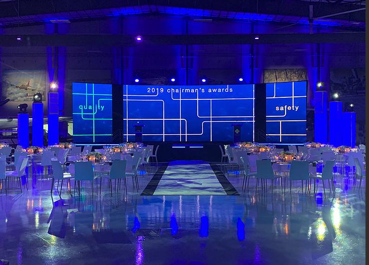 Awards Dinner for a Fortune 100 Company  Tablescape Creative Design: Taylor Demartino & Mark Del Monaco  Paper Goods Design: Mark Del Monaco  Audio & Visual Design: Goalen Group