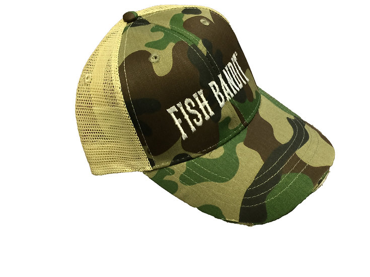 Fish Bandit® Cammo Trucker Hat, Distressed Torn Visor