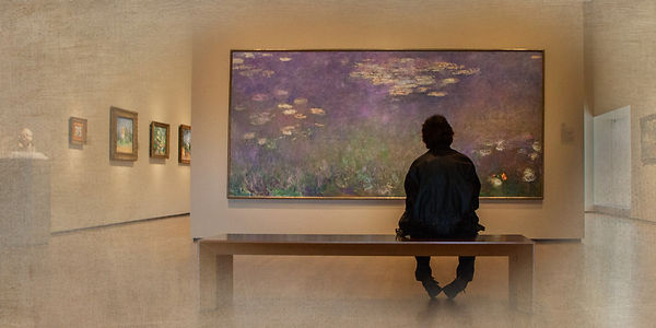 Photo Club Member Image: Man viewing Monet