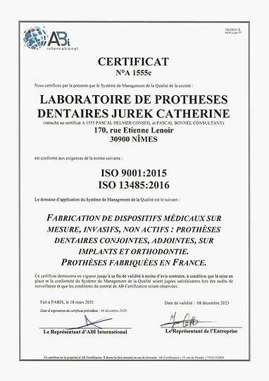 CERTIFICAT ISO LABORATOIRE DE PROTHESE D