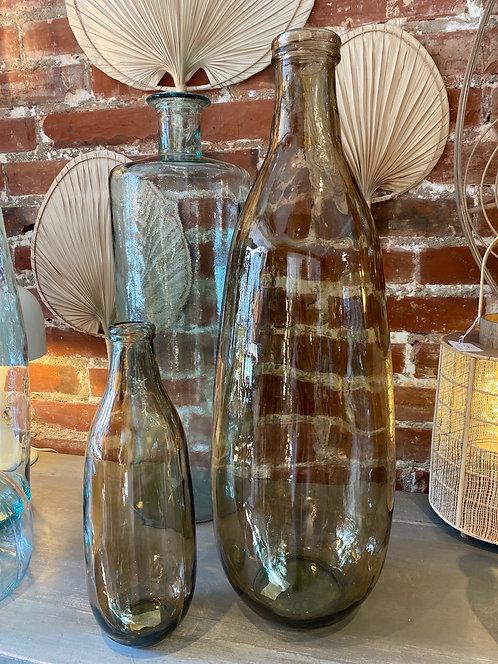 Vase bouteille ambré