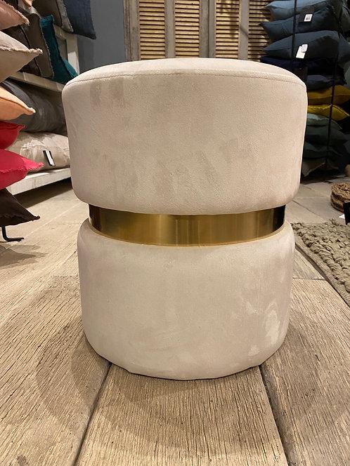 Pouf velours blanc et or
