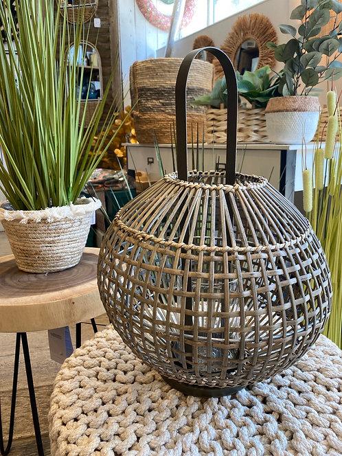 Lanterne sphère bambou foncé