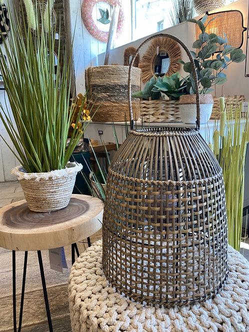 Lanterne cloche en bambou foncé