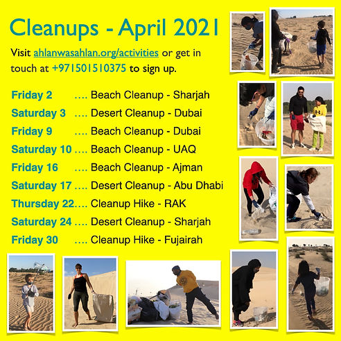 ahlanwasahlan cleanups schedule april 20