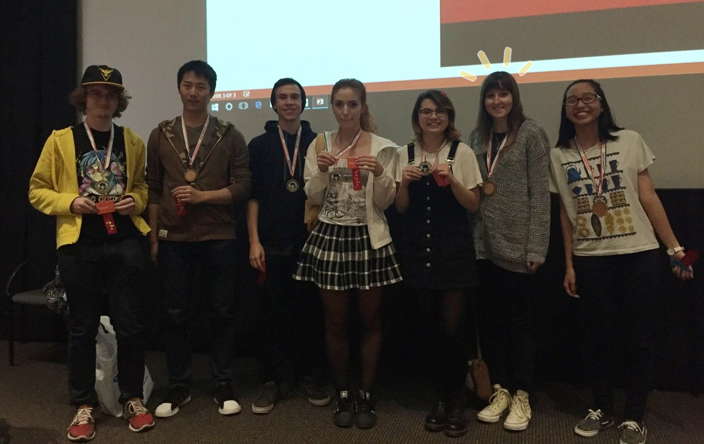 The team celebrating our win at a 2016 Sheridan College game jam!