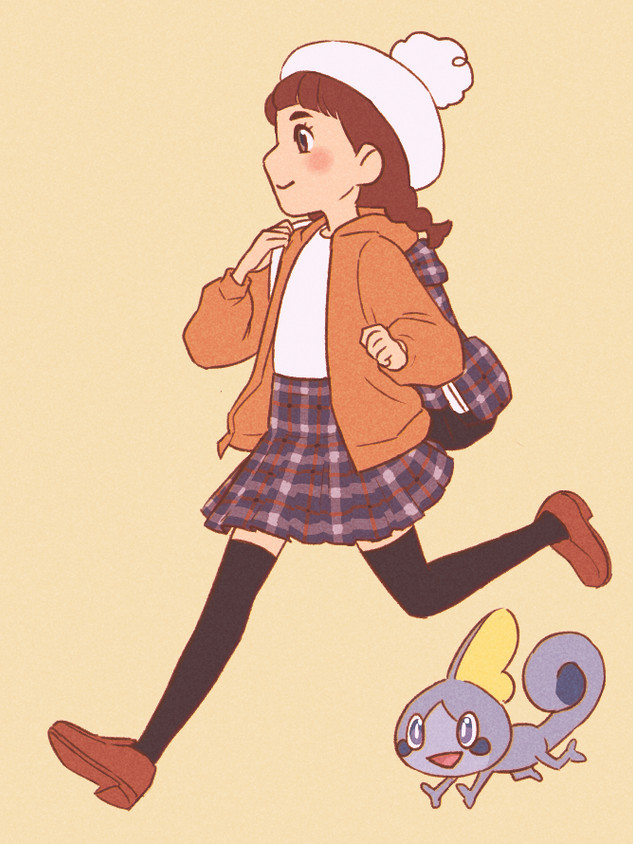 A drawing of my Pokemon Shield trainer.
