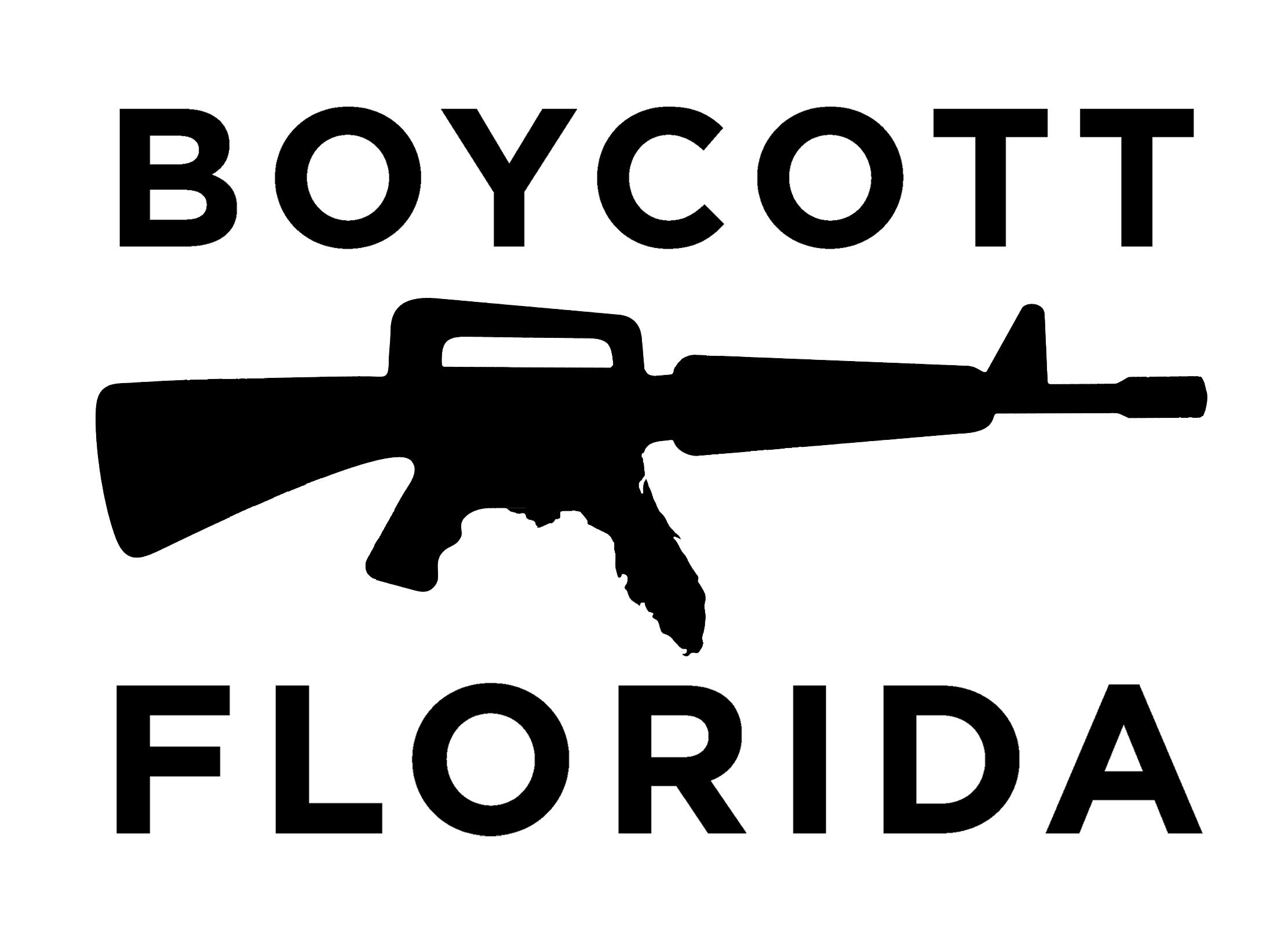 BOYCOTT FLORIDA LOGO AK-15 BW