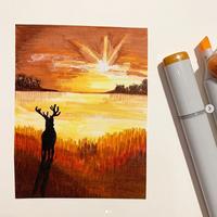 illustratie zonsondergang kaartje