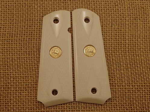 1911 Grips Bonded Ivory Checkered Gold Colt Med.