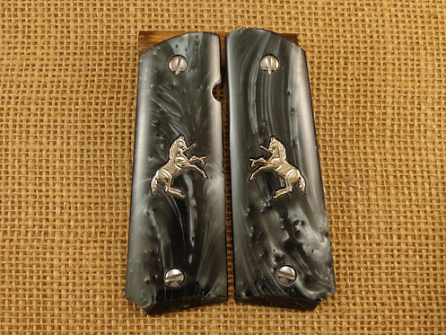 1911 Black Pearl Grips with Silver Colt Horse andScrews