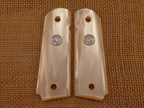 1911 Antique white pearl Grips with Silver Colt Medallions