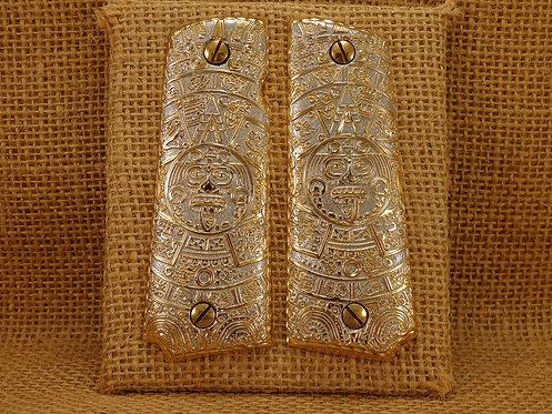 1911 Custom grtips Aztec Designs Gold Plated
