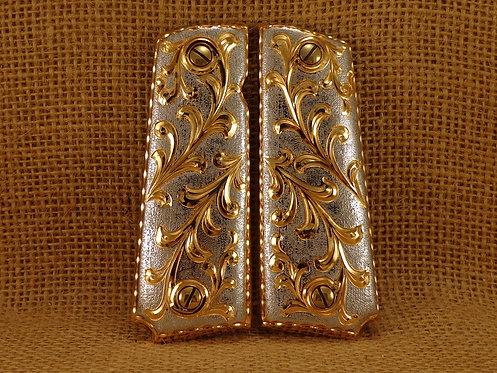 No. 80 1911 Scrolls  Custom Grips Gold Plated