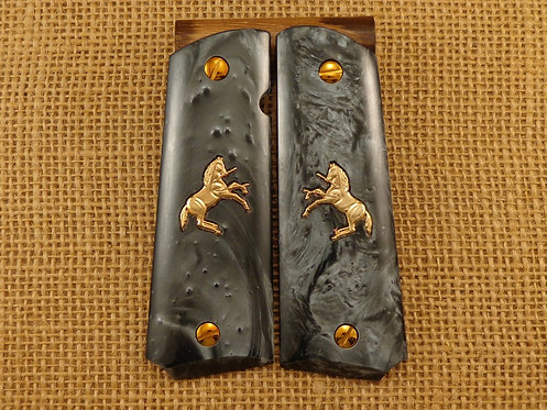 1911 Black Pearl Grips with Gold Colt Horse and Screws