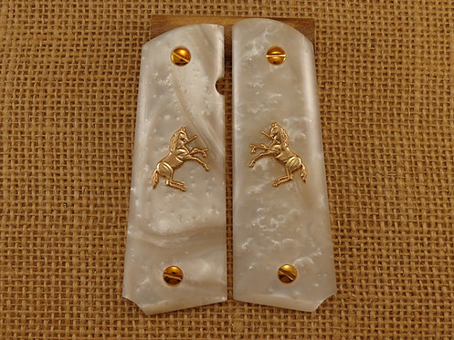 1911 White Pearl Grips Gold Colt Horse and Screws