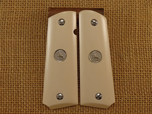 1911 Bonded Ivory Grips with Silver Colt Medallions and Screws