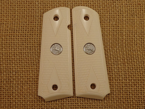 1911 Grips Bonded Ivory Checkered Silver Colt Med.