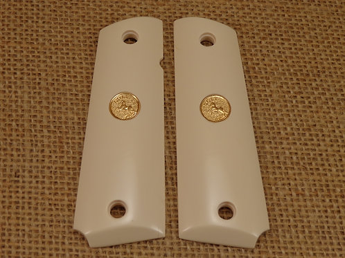 Bonded Ivory with Gold Colt Medallion.