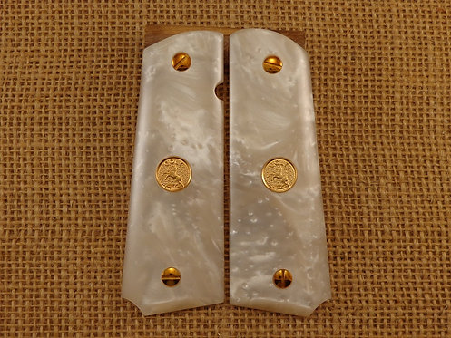 1911 White Pearl grips with Gold Colt Medallions and Screws