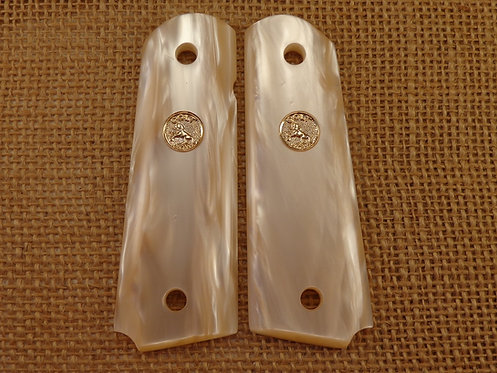 1911 Antique White pearl grips Gold Medallions
