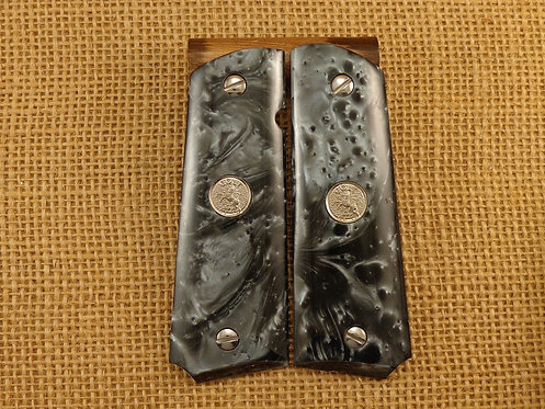 1911 Black Pearl Grips with Silver Colt Medallions and Screws