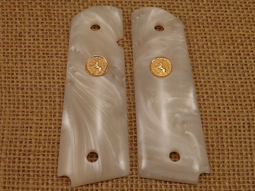 White Pearl with Gold Colt Medallion.