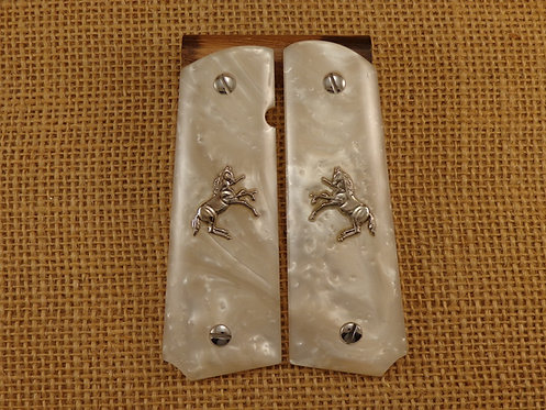 1911 White pearl Grips with Silver Colt Horse and Screws
