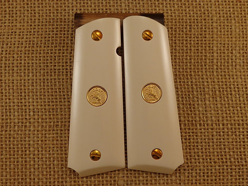 1911 Bonded Ivory Grips with Gold Colt Medallions and Screws