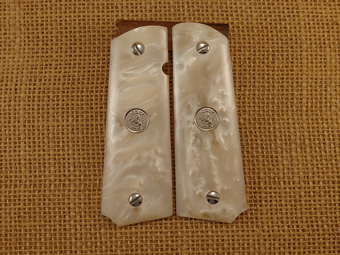 1911 White Pearl Grips with Silver Colt Medallions and Screws