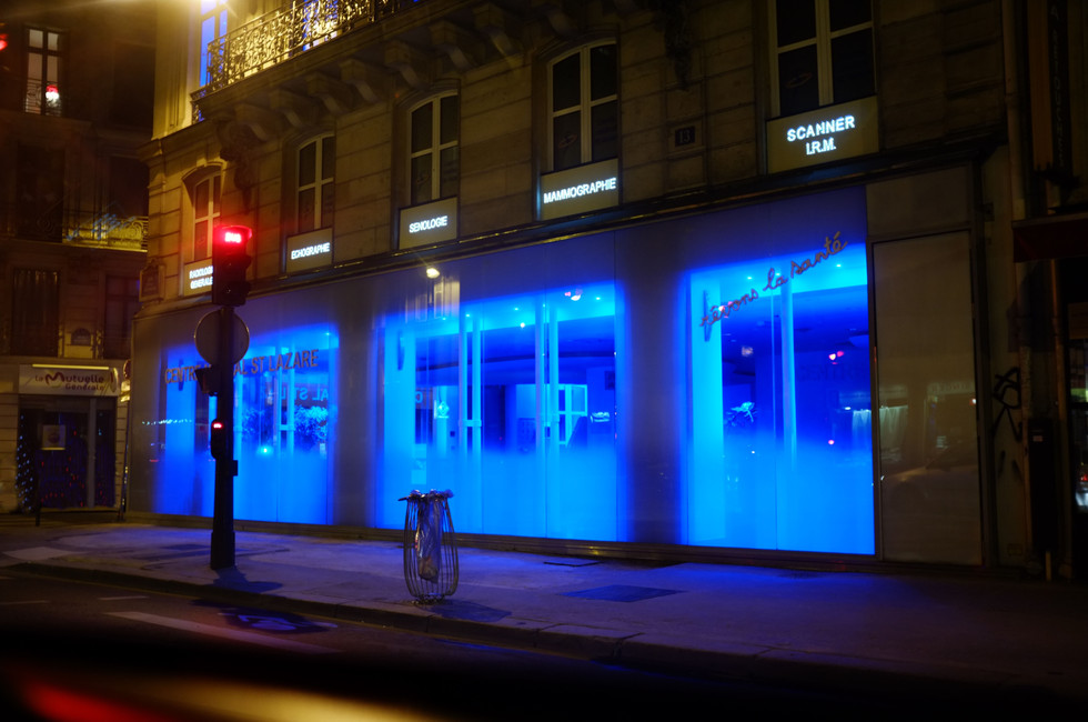 Blue lignts in the night.