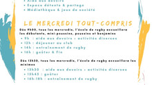 Le mercredi tout-compris pour les enfants de l'Ecole De Rugby dès le 3 octobre !