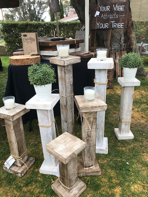 Rustic Plant Stands/Candle Pillars Set of 3