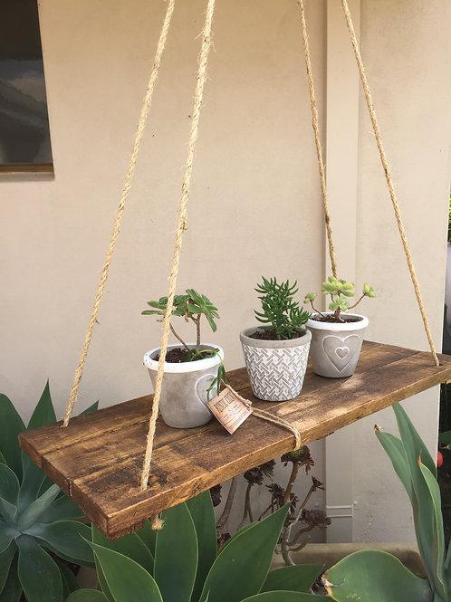 Rustic Wood & Twine Swing Shelf