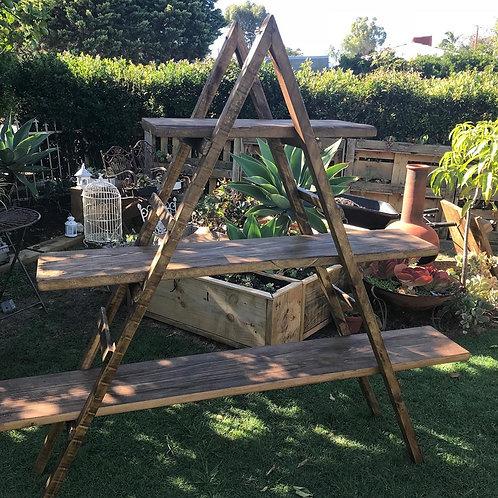 Rustic Triangular Ladder Shelf
