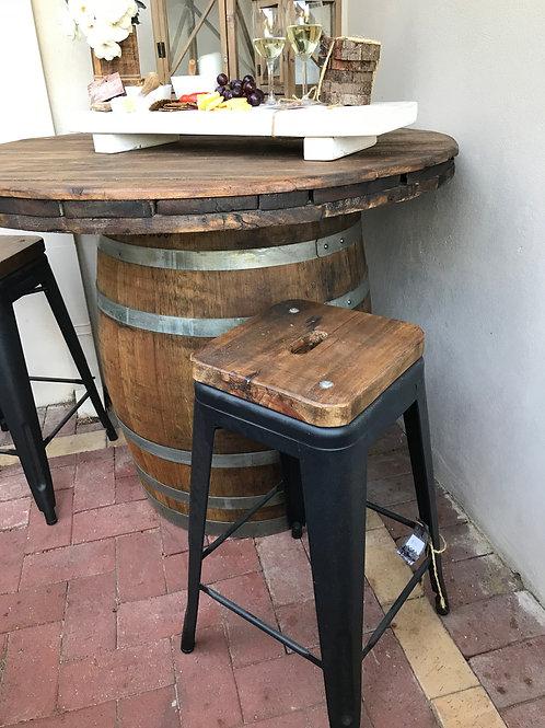 Rustic Wood Top Stool