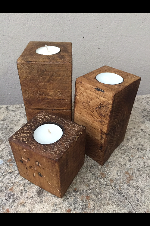 Square Chunky Rustic Style Candle Set
