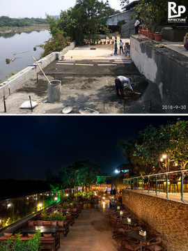 Before & after of riverside seating