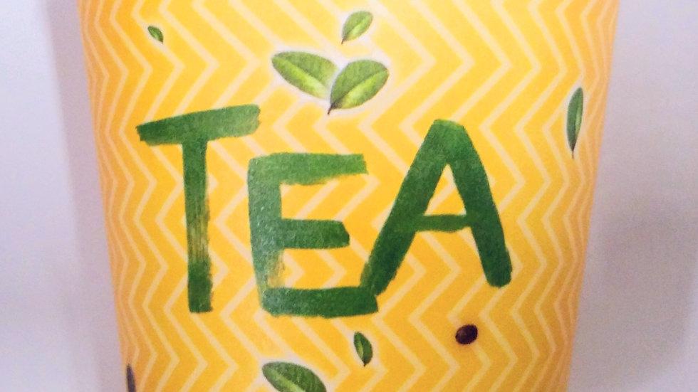 Kubki papierowe żółte z nadrukiem Coffe & Tea