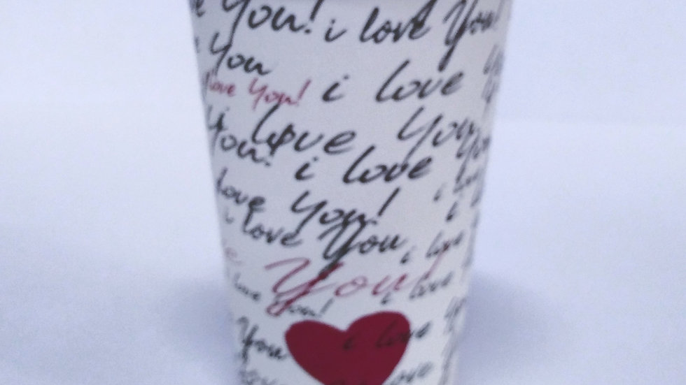 Kubek papierowy 400 ml  I Love You