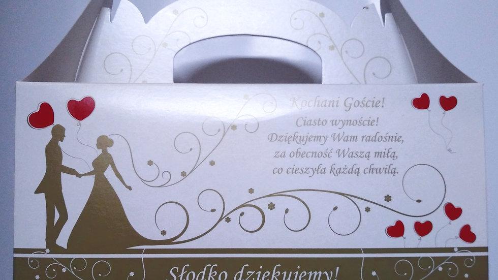 Pudełko na ciasto weselne Młoda Para złote