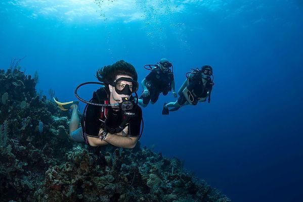 Divemaster Internship student guiding in reef in Roatan