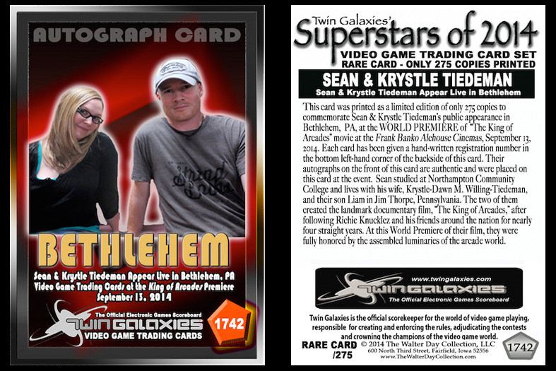Superstars of 2014 Official Twin Galaxies Video Game Trading Card