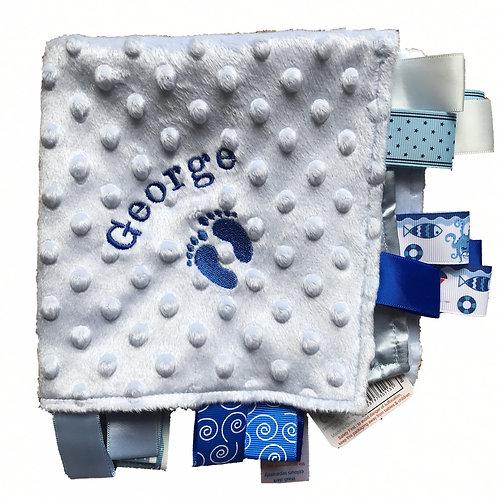 Personalised Taggie Blanket Comforter Footprint Design