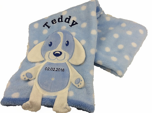 Personalised Blue  'Full body' Puppy Baby Blanket
