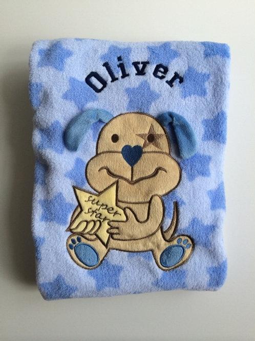 Blue Super Star Baby Blanket