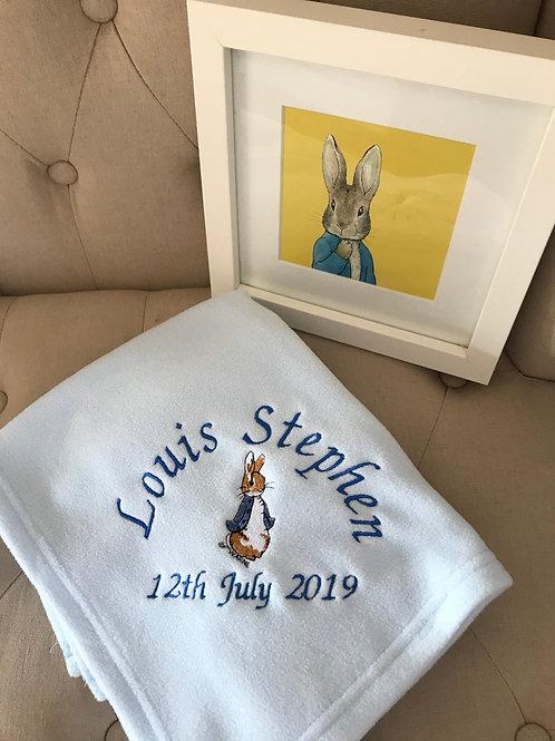 Personalised Peter Rabbit baby Blanket